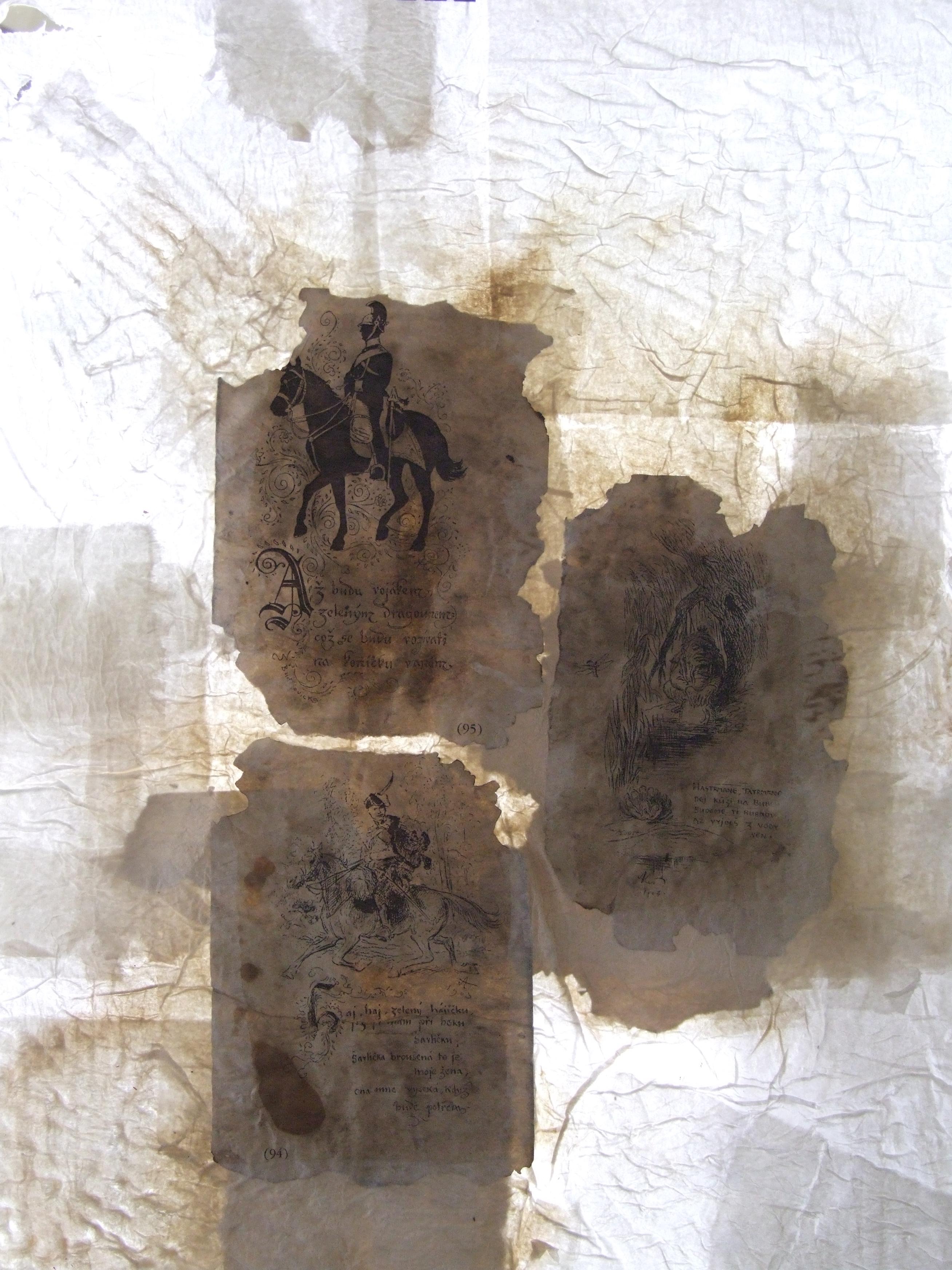 Triptych Dopis nevinnému (na motivy ze života faráře Toufara), papír, koláž, slepotisk, 2016/2017